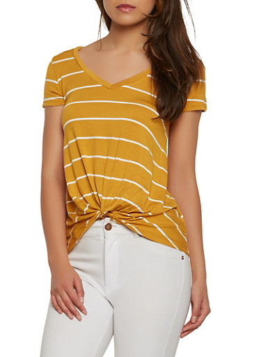 Striped Twist Front Tee,YELLOW,large