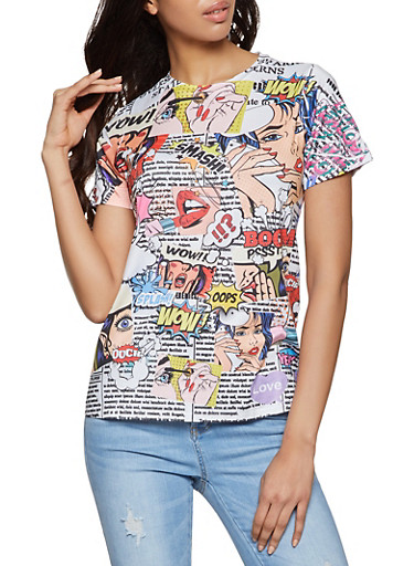Pop Art Graphic Soft Knit Tee,WHITE,large