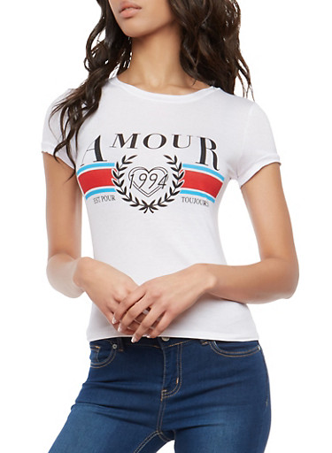 Amour Graphic T Shirt,WHITE,large