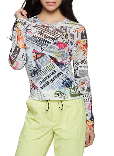 Newspaper Print Mesh Top,MULTI COLOR,large