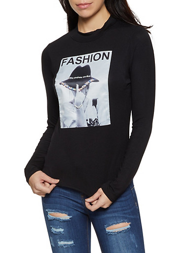 Fashion Patch Long Sleeve Top,BLACK,large