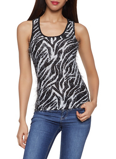 Feathered Knit Zebra Print Tank Top,BLACK,large