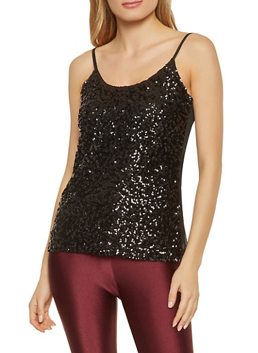 Sequined Mesh Cami,BLACK,large