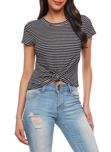 Knot Front Striped T Shirt,BLACK,large
