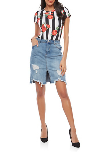 Knot Front Floral Stripe T Shirt,BLACK,large