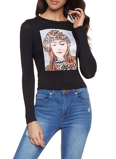 Faux Pearl Studded Model Graphic Tee,BLACK,large