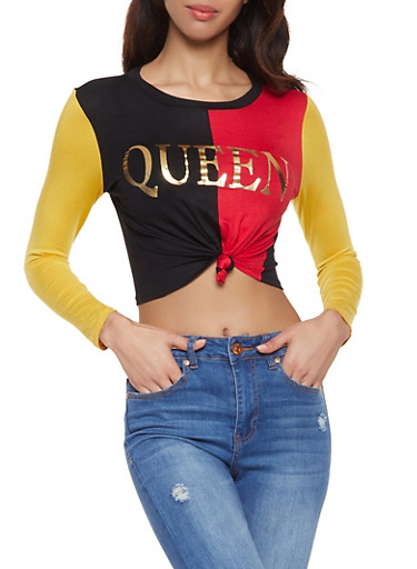 Queen Color Block Cropped Tee,RED,large