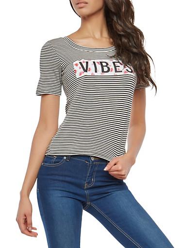 Vibes Graphic Striped T Shirt,BLACK/WHITE,large