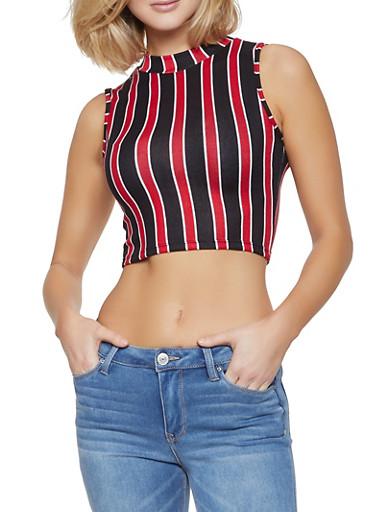 Striped Mock Neck Crop Top,BLACK,large