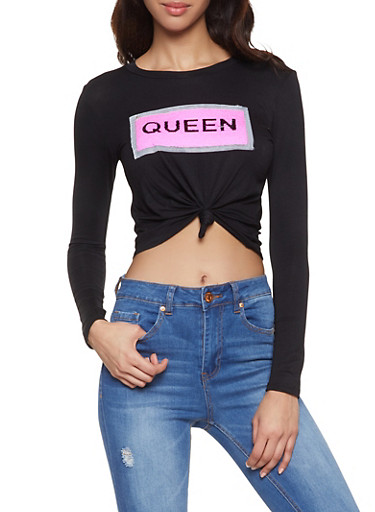 Queen Reversible Sequin Graphic Tee,NEON PINK,large