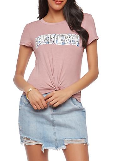 Knot Front Believe Floral Graphic T Shirt,MAUVE,large