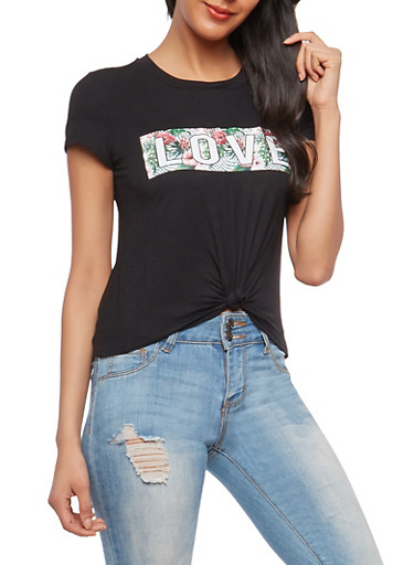 Knot Front Love Floral Graphic T Shirt,BLACK,large