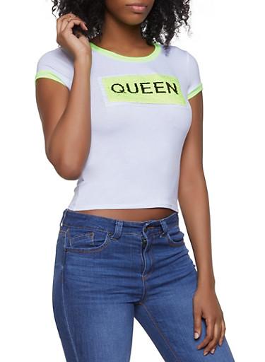 Neon Reversible Sequin Queen Graphic Tee,WHITE,large