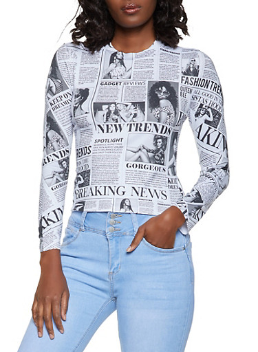 Soft Knit Newspaper Print Top,BLACK/WHITE,large