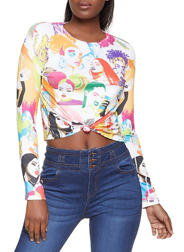 Twist Front Face Graphic Top,WHITE,large