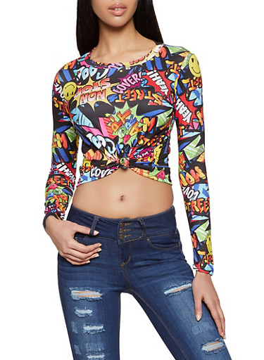 Graffiti Long Sleeve Cropped Tee,BLACK,large