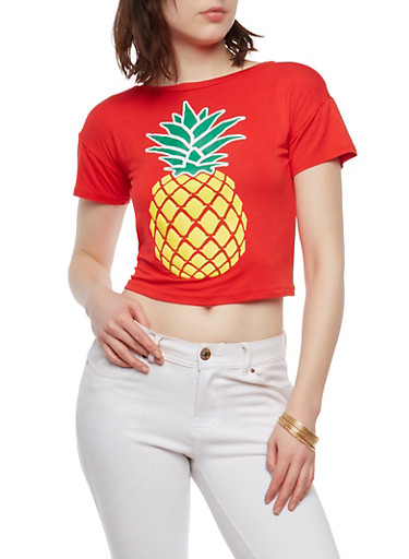 Pineapple Graphic Tie Back Top,RED,large