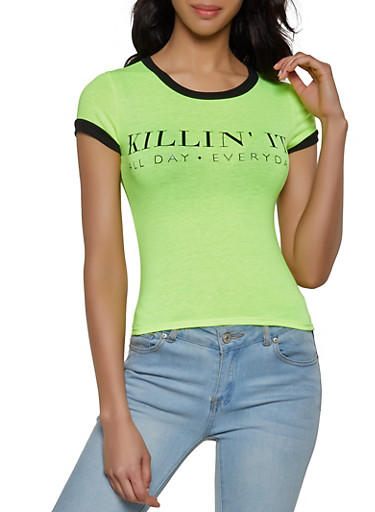 Killin It All Day Everyday T Shirt,LIME,large