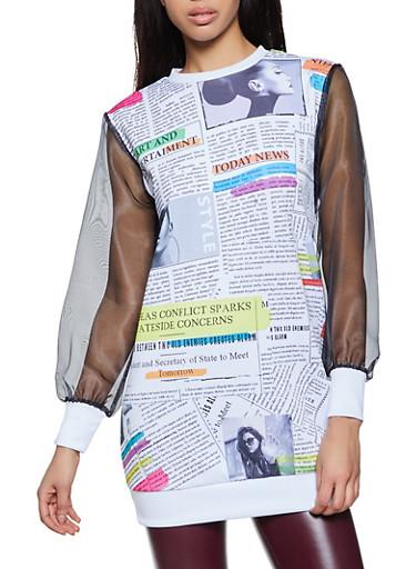 Organza Sleeve Newspaper Print Top,MULTI COLOR,large