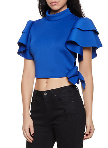 Tiered Sleeve Scuba Side Tie Top,RYL BLUE,large