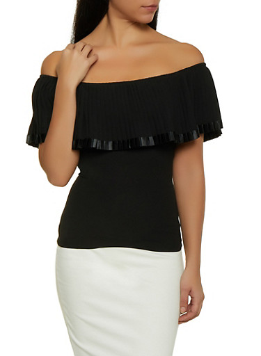 Pleated Off the Shoulder Crepe Knit Top,BLACK,large