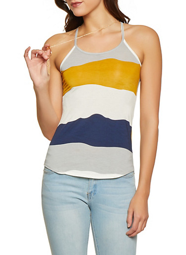 Striped Racerback Cami with Necklace,MUSTARD,large