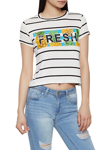 Fresh Striped Tee,BLACK,large