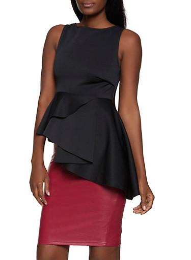 Asymmetrical Peplum Top,BLACK,large