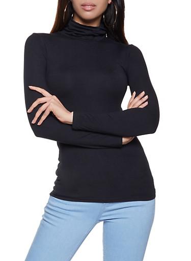 Long Sleeve Soft Knit Turtleneck Top,BLACK,large