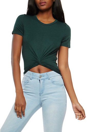 Soft Knit Twist Front Crop Top,GREEN,large
