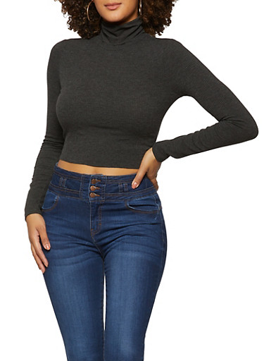 Ribbed Turtleneck Crop Top,CHARCOAL,large