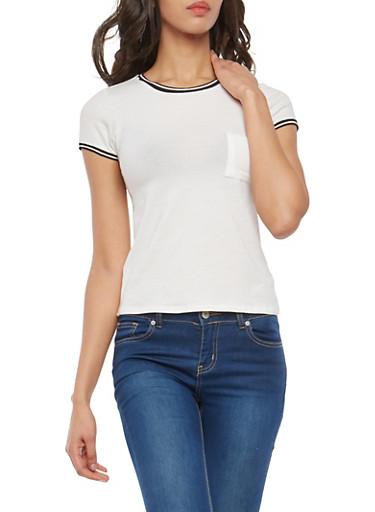 Striped Contrast Trim T Shirt,WHITE,large