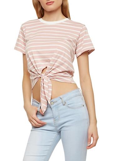 Striped Tie Front T Shirt,MAUVE S,large