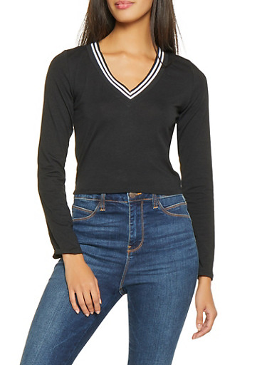 Striped Rib Knit Trim Top,BLACK,large