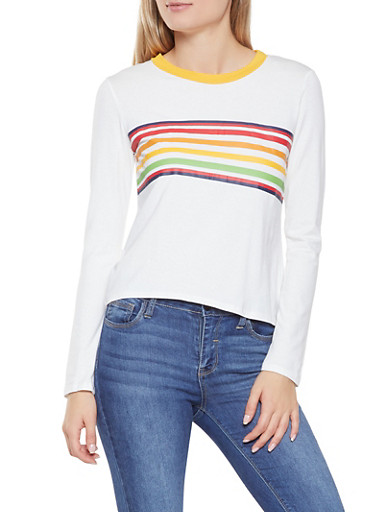 Multi Color Stripe Detail Tee,WHITE,large
