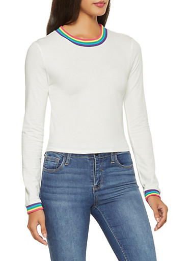Long Sleeve Contrast Trim Tee,WHITE,large