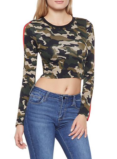 Striped Sleeve Camo Crop Top,OLIVE,large