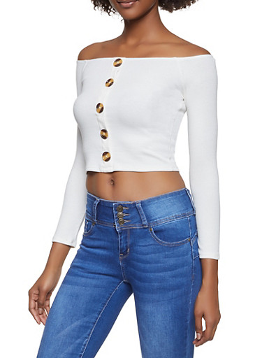 Ribbed Knit Off the Shoulder Top,WHITE,large