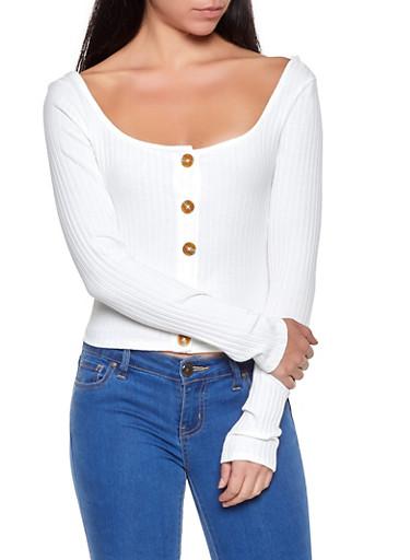 Button Detail Rib Knit Top,WHITE,large
