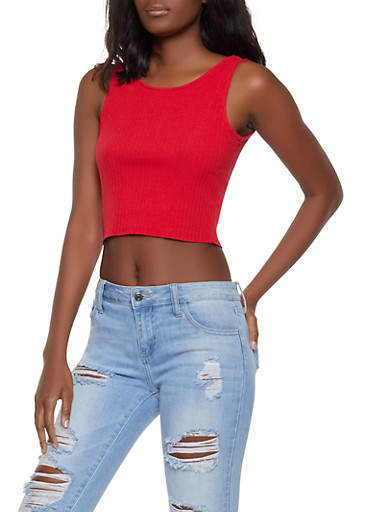 Scoop Neck Rib Knit Crop Top,RED,large