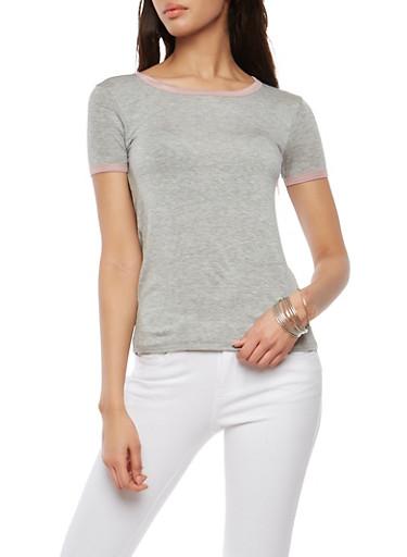 Soft Knit Contrast Trim T Shirt,HEATHER MAUVE,large