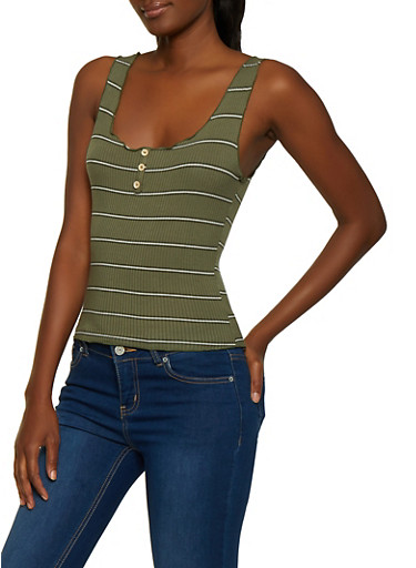 Lettuce Edge Striped Tank Top,OLIVE,large