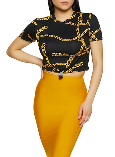 Chain Print Tie Front Tee,BLACK,large