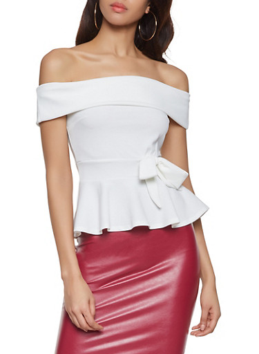 Off the Shoulder Peplum Top,WHITE,large