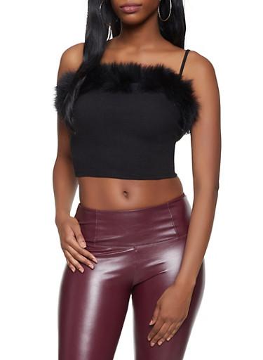 Faux Fur Trim Crop Top,BLACK,large