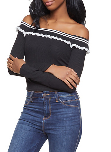 Ruffled Off the Shoulder Top,BLACK/WHITE,large