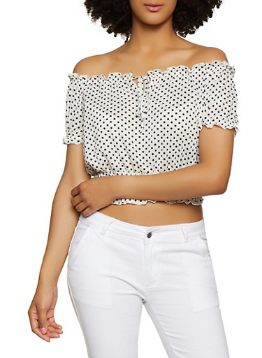 Polka Dot Ruffle Off the Shoulder Top,WHT-BLK,large