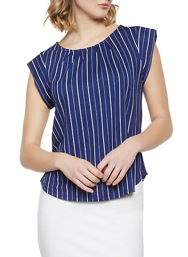 Striped Textured Knit Top,NAVY,large