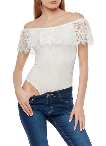 Off the Shoulder Lace Sleeve Bodysuit,WHITE,large
