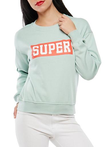 Graphic Crew Neck Sweatshirt,GREEN,large
